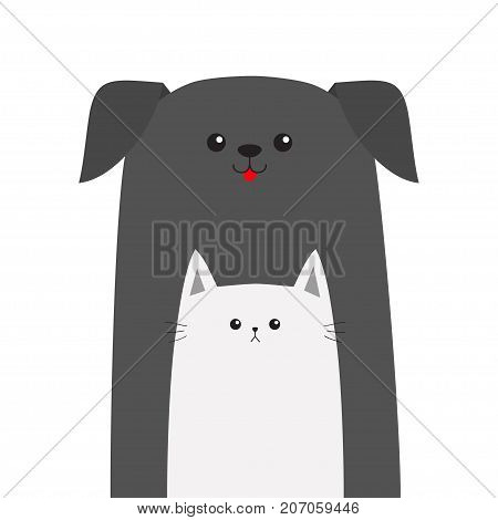 Pet shop icon. Dog Cat animal. Red tongue. Happy pets set. Veterinary design element. Cute cartoon funny character. Friends forever. Flat. White background. Isolated. Vector illustration