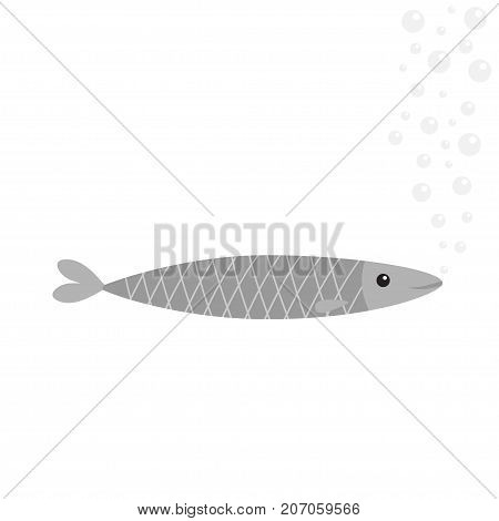 Sardine gray fish icon. Iwashi. Sardina pilchardus. Cute cartoon character. Anchovy pilchard. Water bubbles. Flat design. White background. Isolated. Vector illustration