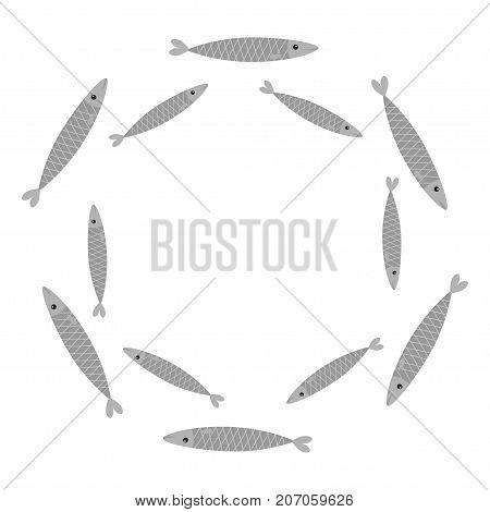 Sardine gray fish set. Iwashi. Sardina pilchardus school. Cute cartoon character. Anchovy pilchard. Round circle frame. Water animal Marine life. Flat design. White background. Isolated. Vector