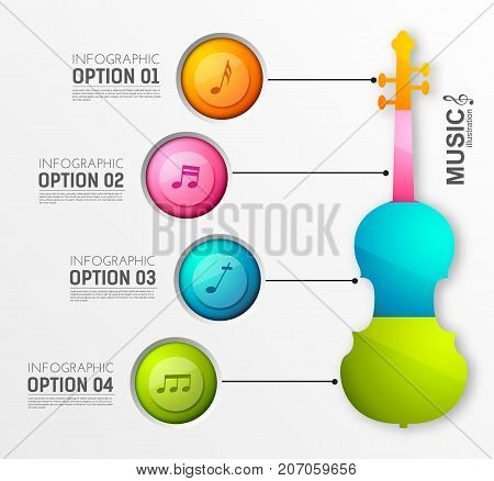 Music instrument infographics with four colorful round buttons violin and musical notes on light background vector illustration