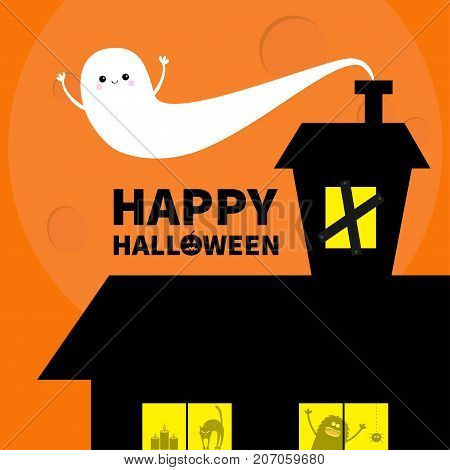 Haunted house roof attic loft. Light boarded-up windows. Cat arches back. Flying ghost. Monster spider Pumpkin Candle. Happy Halloween. Big moon Funny cartoon character Orange background. Flat Vector