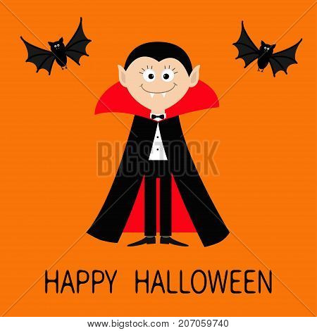 Happy Halloween. Count Dracula wearing black and red cape. Cute cartoon vampire smiling character face with fangs. Two flying bat animal. Flat design. Orange background. Vector illustration