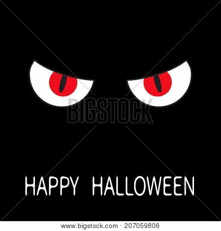 Evil Red eyes in dark night. Angry cartoon character head face. Happy Halloween Greeting card. Flat design. Black background. Vector illustration