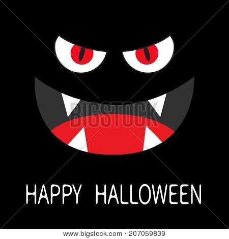 Evil Red eyes in dark night. Smiling wicked mouth with fangs tooth tongue.  Flat design. Black background. Vector illustration