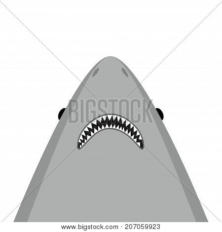 Shark head face with big open mouth and sharp teeth. Cute cartoon animal character. Flat design. Isolated White background Vector illustration
