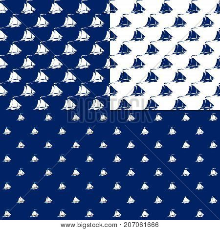 Set of Maritime Backgrounds Seamless Marine Pattern with Sailing Vessel Travel and Tourism Concept Vector Illustration