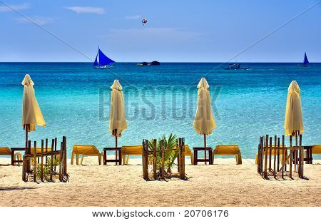 Beach Scene With Sail Boats