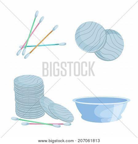 Cartoon bath accessories set. Cotton pads bath washbowl and cotton swabs hygiene sticks.
