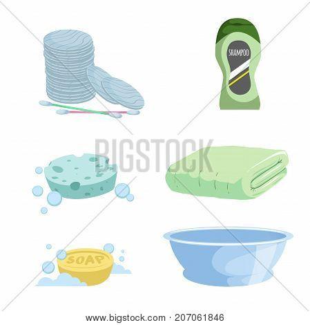 Cartoon trendy simple gradient bath icon set. Cotton sticks and pads soap green towel shampoo bottle blue basin and sponge. Health and hygiene vector symbols.