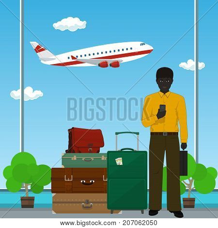 African American Man with Luggage against the Background of a Take-off Airplane at the Airport Business Tourism Vector Illustration