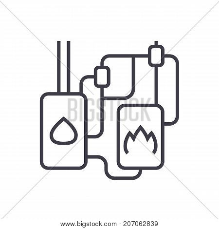 heating system vector line icon, sign, illustration on white background, editable strokes