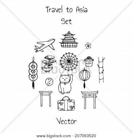 Vector travel to asia set. Includes plane suitacse and oriental elements contours: umbrellas japanese lucky cats coins lanterns bonsai torii gates noodles bamboo and yin yang symbol.