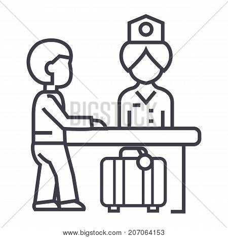 hotel reception, receptionist at the table vector line icon, sign, illustration on white background, editable strokes