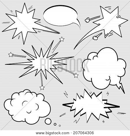 Set of Cartoon, Comic Speech Bubbles, Empty Dialog Clouds in Pop Art Style.
