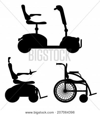 wheelchair for disabled people black outline silhouette stock vector illustration isolated on white background