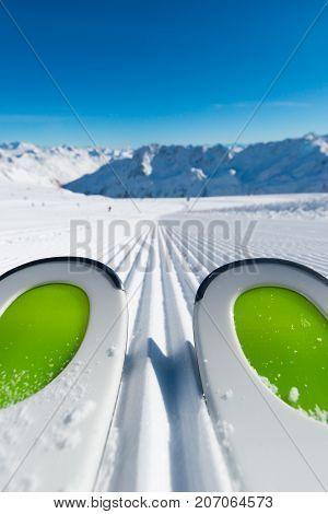 Skis On Ski Slope