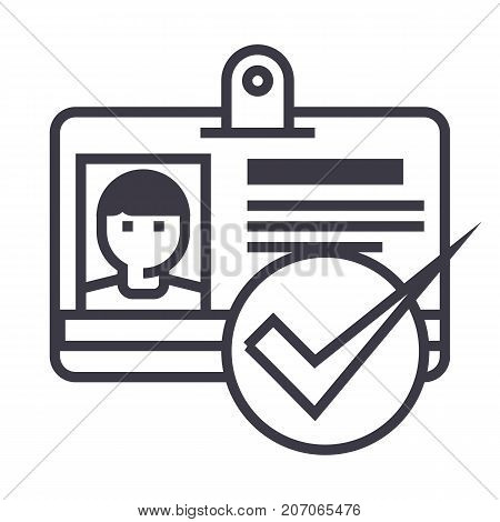 id, pass, permit vector line icon, sign, illustration on white background, editable strokes