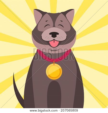 Cute happy dog winner with gold medal on neck. Champion with award on collar flat vector on colorful background with rays. Lovely purebred pet competition winner illustration for animal friends