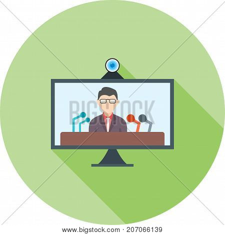 Online, conference, press icon vector image. Can also be used for news and media. Suitable for mobile apps, web apps and print media.