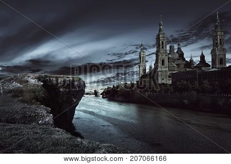 View Of Dark Castle With Dark Sky