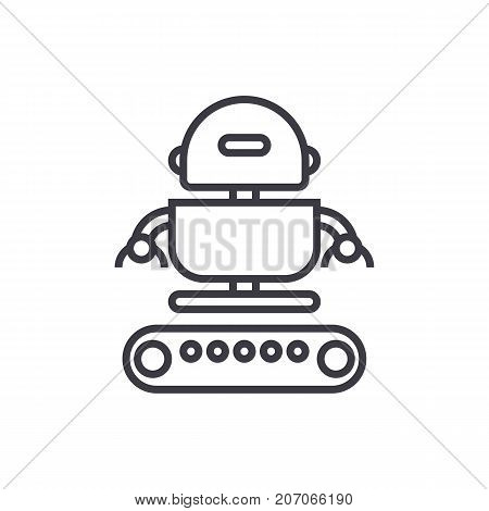 industrial army robot  vector line icon, sign, illustration on white background, editable strokes