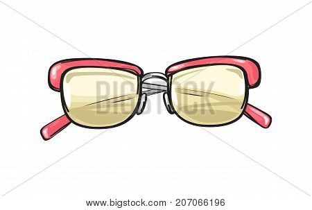 Fashionable eyeglasses with coral frame and yellowish lenses isolated on background. Glamorous spectacles for sight correction and elegant look. Vector illustration of trendy glasses.