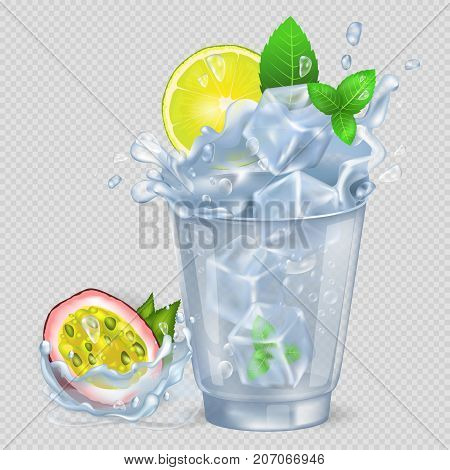 Faceted glass with cocktail and ice, fresh lemon and green spearmint, passion fruit isolated vector illustration on transparent background.