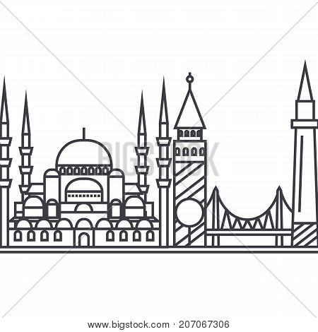 istambul vector line icon, sign, illustration on white background, editable strokes