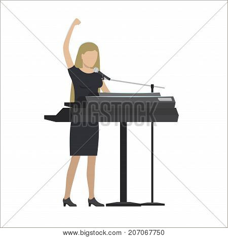 Woman playing a synthesizer in musical group vector illustration isolated on white. Lady singer in black dress perform on electronic musical instrument
