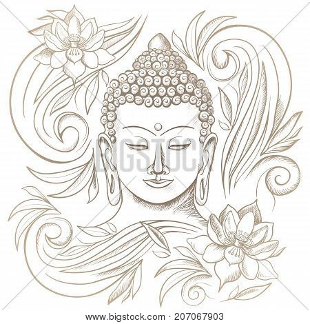 Gautama buddha with closed eyes representing during meditation, floral pattern around him, vector illustration isolated on white background