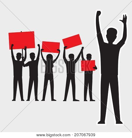 Cartoon adult people silhouettes with red streamers protesting, one goes ahead, people protest isolated vector illustrations on white background.