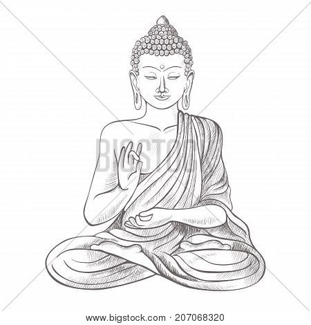 Gautama buddha with closed eyes and raised right hand, sitting and meditating, dressed in clothes on vector illustration isolated on white background