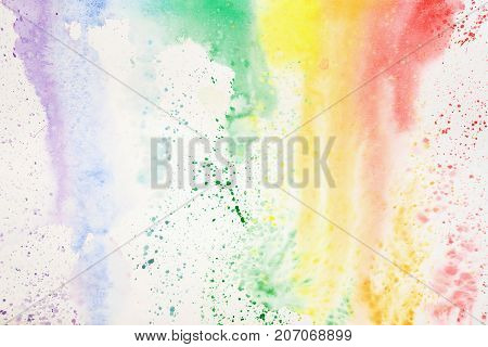 Abstract colorful watercolor hand drawn image, for splash background, colorful shades on white. Rainbow colored spot. Artwork for creative banner, card, template, design