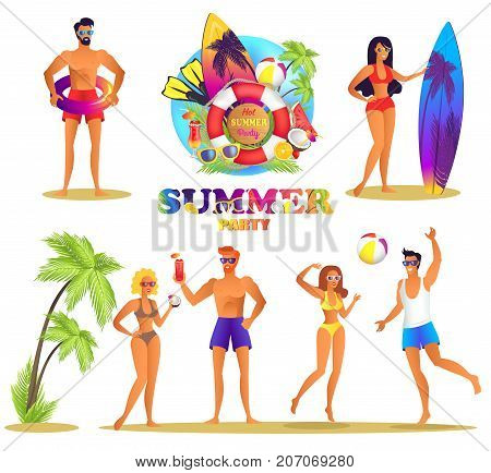 Summer Party isolated vector illustrations set. Women in bikini and men in swim trunks, tropical palms, colorful surfboards and life buoys.