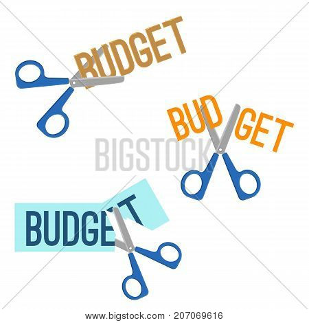 Title budget written on piece of paper and scissors that cutting it, headline of different colours, on vector illustration isolated on light-yellow