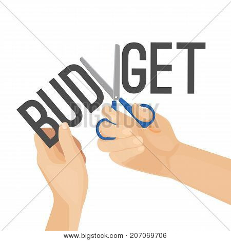 Budget cutting process vector illustration of tearing financial economy on half, stealing money concept. Hands with scissors tear savings