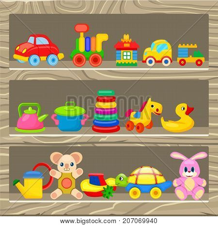 Small cars, soft and plastic toys, constructors, rubber duck, artificial cookware and yellow watering can vector illustrations.
