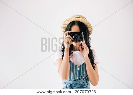 Woman Taking Picture On Photo Camera