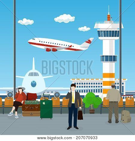 View on a Take-off Airplane and Control Tower through the Window from a Waiting Room at the Airport Passengers Waiting for Boarding a Plane Travel Concept Vector Illustration