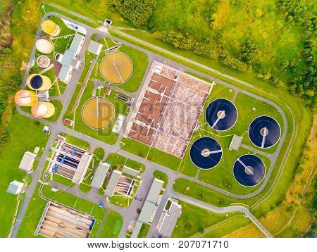 PILSEN CZECH REPUBLIC - SEPTEMBER 27, 2017: Aerial view to sewage treatment plant. Grey water recycling. Waste management for 165, 000 inhabitants of Pilsen city in Czech Republic, Europe.