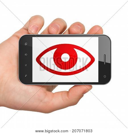 Safety concept: Hand Holding Smartphone with  red Eye icon on display,  Hexadecimal Code background, 3D rendering