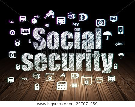 Protection concept: Glowing text Social Security,  Hand Drawn Security Icons in grunge dark room with Wooden Floor, black background