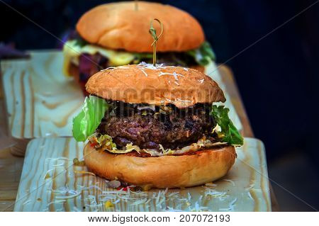 Home Made Hamburger With Lettuce, Cheese,