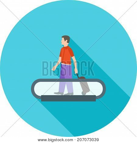 Airport, escalator, horizontal icon vector image. Can also be used for airport. Suitable for mobile apps, web apps and print media.