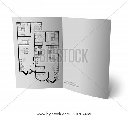 Brochure with drawings of a house for promotion