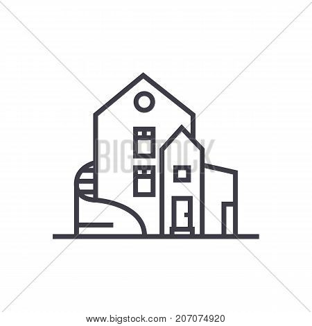 luxury house, detached mansion vector line icon, sign, illustration on white background, editable strokes