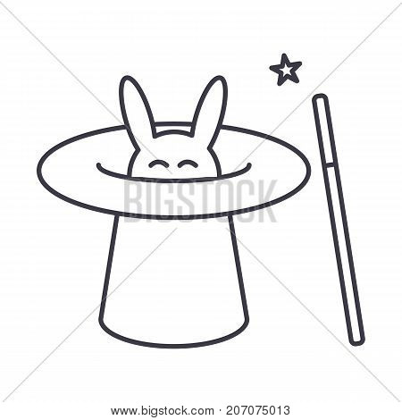 magician with rabbit, magic hat, wand trick vector line icon, sign, illustration on white background, editable strokes