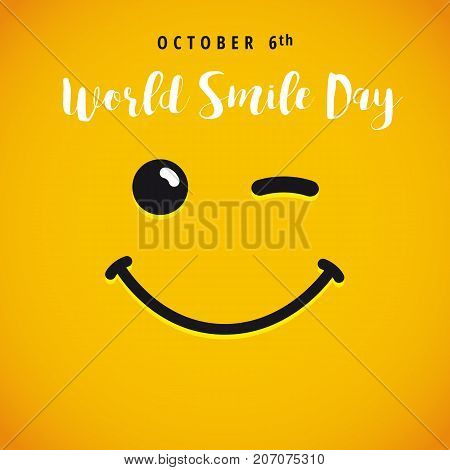 Smile with tongue and lettering World Smile Day on yellow background. World Smile Day october 6th card. Vector illustration