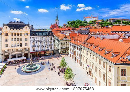 Bratislava Slovakia. View of the Bratislava castle main square and the St. Martin's Cathedral.