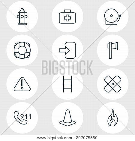 Editable Pack Of Hotline, Stairs, Burn And Other Elements.  Vector Illustration Of 12 Emergency Icons.